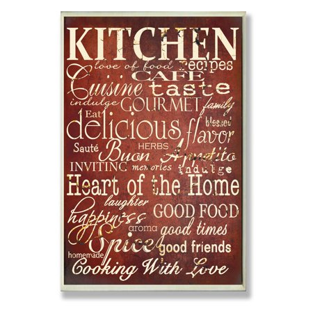 The Stupell Home Decor Collection Red Kitchen Words Typography Wall (Words To Put On A Memorial Plaque)