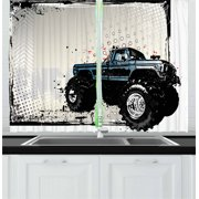 Truck Curtains 2 Panels Set, Halftone Pattern Background with Color Splashed Frame and Monster Truck Motif, Window Drapes for Living Room Bedroom, 55W X 39L Inches, Ivory Blue Black, by Ambesonne