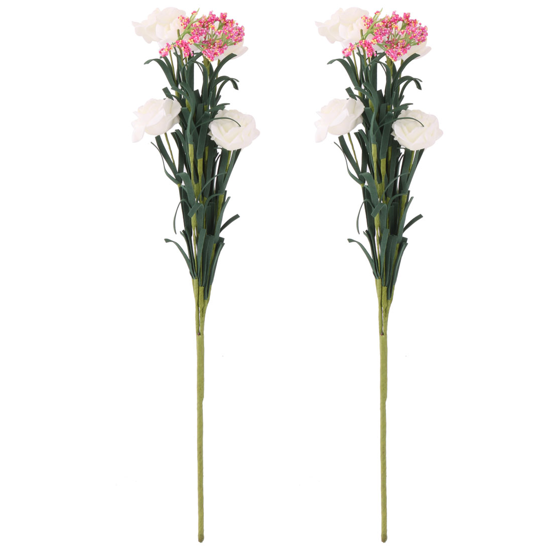 Bride Foam Artificial Rose Flower Photo Prop Handheld Bouquet Off White 2pcs