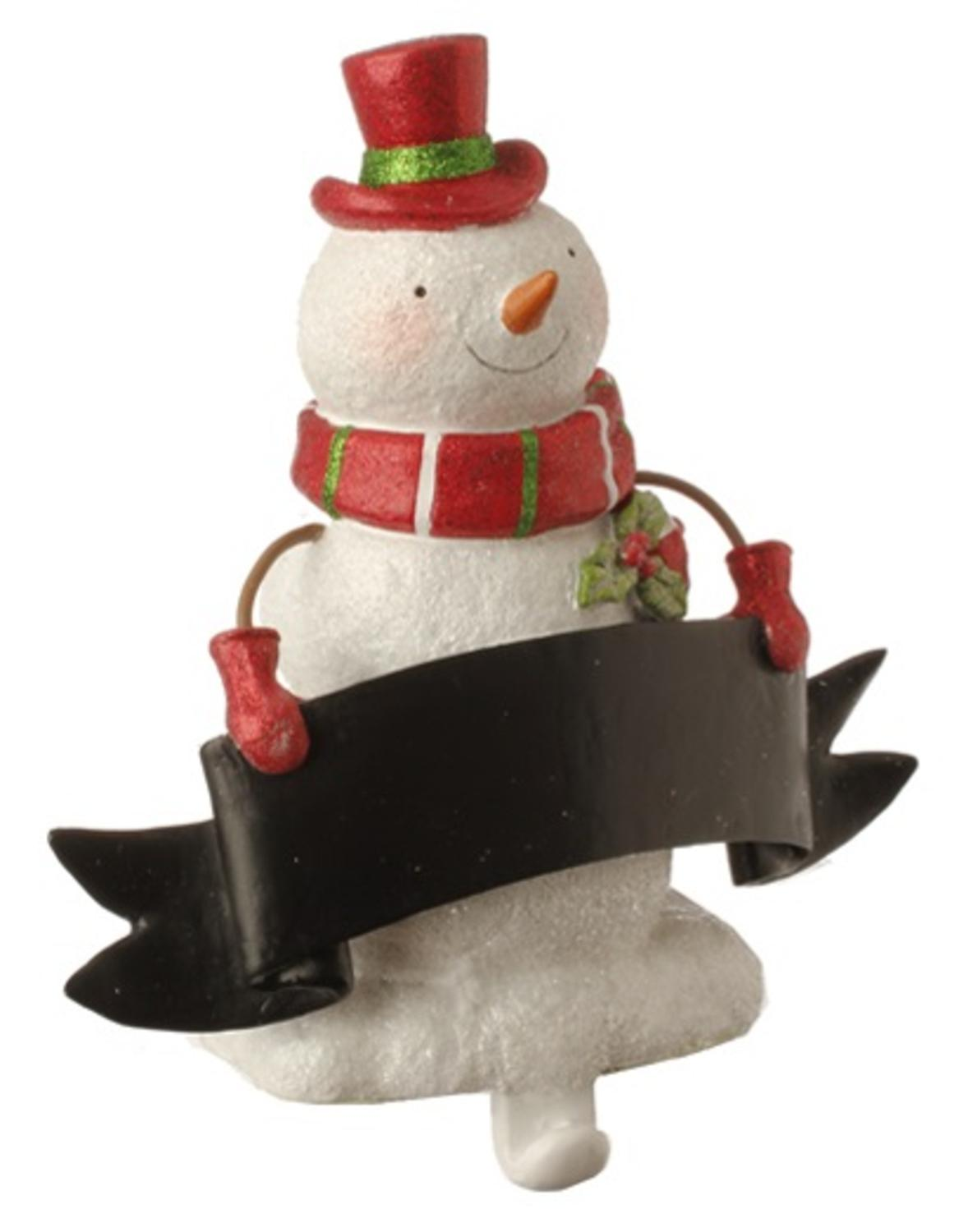 "8.5"" Red and White Glitter Snowman Stocking Holder with Chalkboard Banner Christmas Decoration"