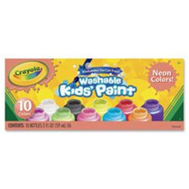 Crayola CYO542390 10-Color Neon Washable Kids Paint, 10 Per Set