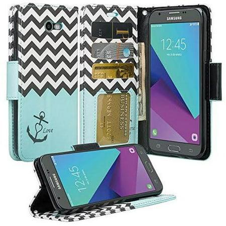 Samsung Galaxy J3 Emerge Case, J3 2017, J3 Prime, J3 Amp Prime 2, J3 Express Prime 2, Wrist Strap Magnetic Fold[Kickstand] Pu Leather Wallet Case with ID & Credit Card Slots - Teal Anchor