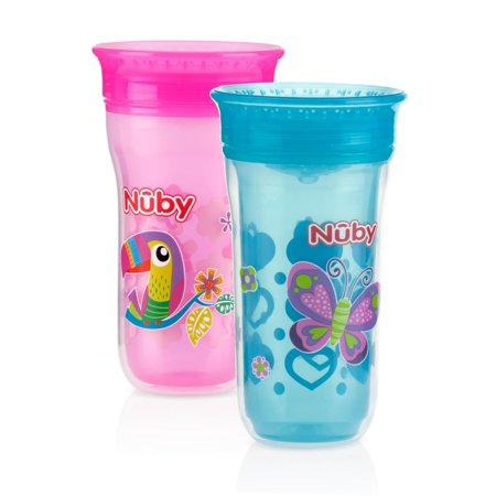 Nuby 2 Pack Insulated 360 Wonder Cup Spoutless Sippy Girl Assortment