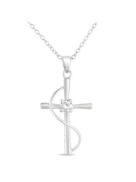 CZ Sterling Silver Cross Pendant, 18""