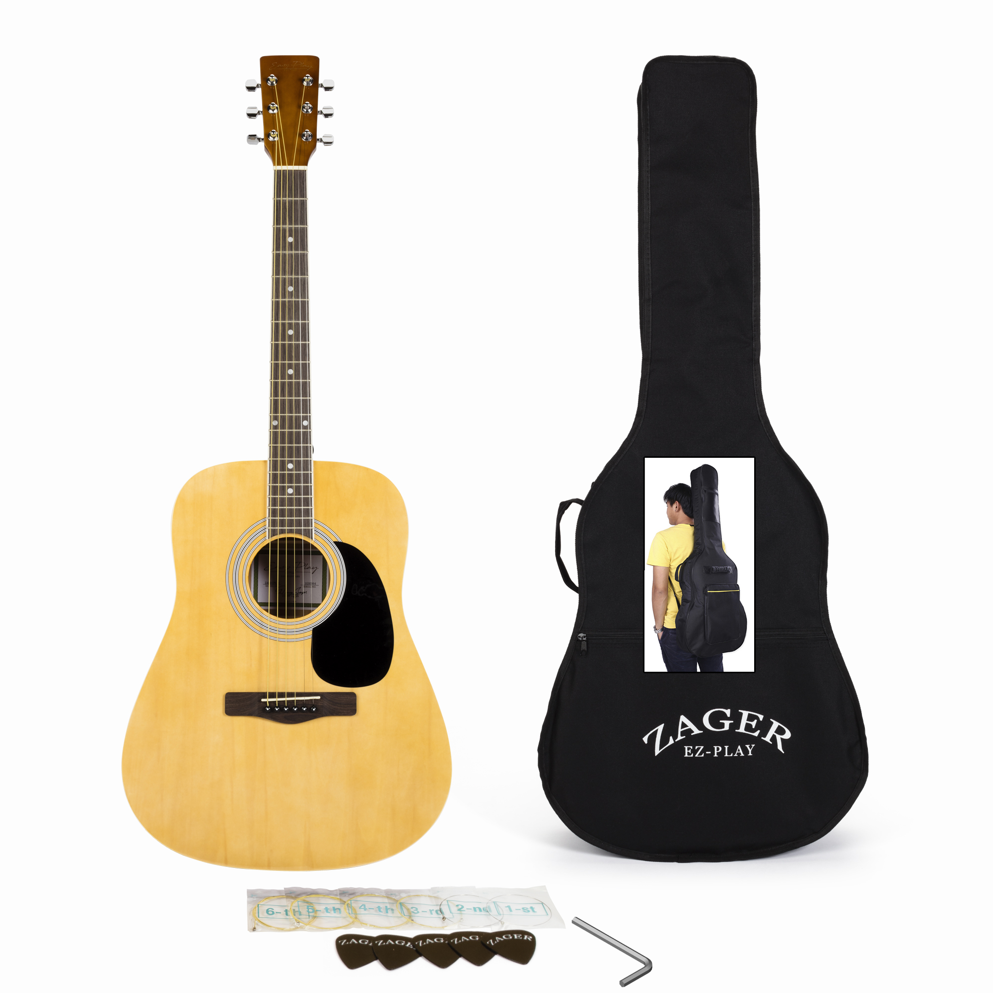 Easy Play No Sore Fingers Acoustic Guitar Player Package with Custom Easy Neck design, Low pressure bracing & Soft touch strings