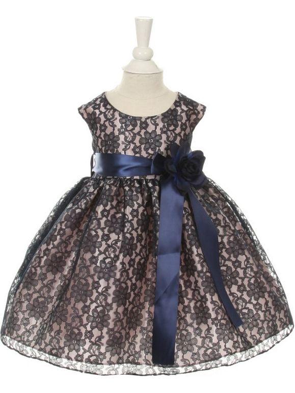 Baby Girls Navy Lace Navy Sash Sleeveless Dress 24M