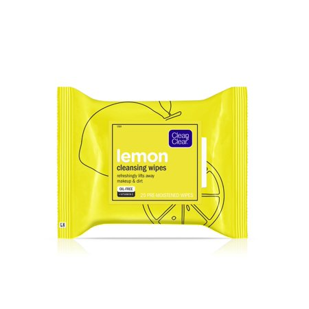 Clean & Clear Oil-Free Lemon Face Cleanser Wipes with Vitamin C, 25 ct ()
