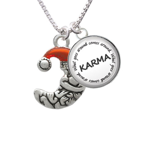 "Small Crescent Moon Santa Karma Glass Dome Necklace, 18""+2"""
