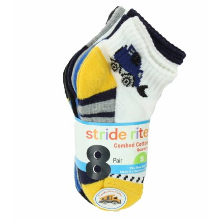 Stride Rite Boys Combed Cotton Quarters Socks-8 Pack (Construction, Small