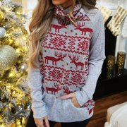 Xmas Women Long Sleeve Sweatshirt Slouch Pullover Slim Sweater Jumper Blouse