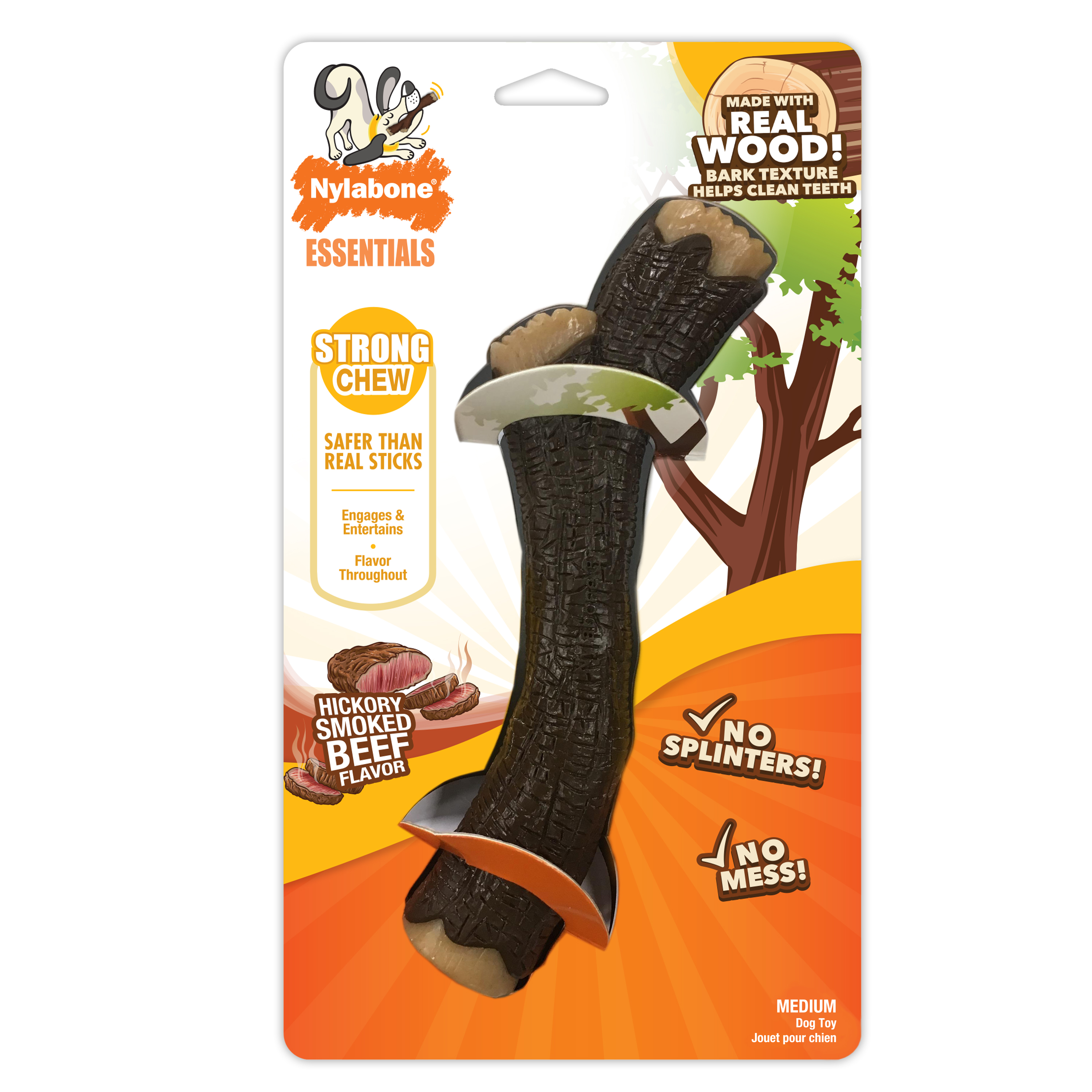 Nylabone Stick Dog Chew Toy, Hickory Smoked Beef, Medium
