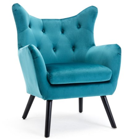 BELLEZE Mid Century Wing Back Chair Tufted Wood Leg Wood Frame Polyester Arm Curved, Teal ()