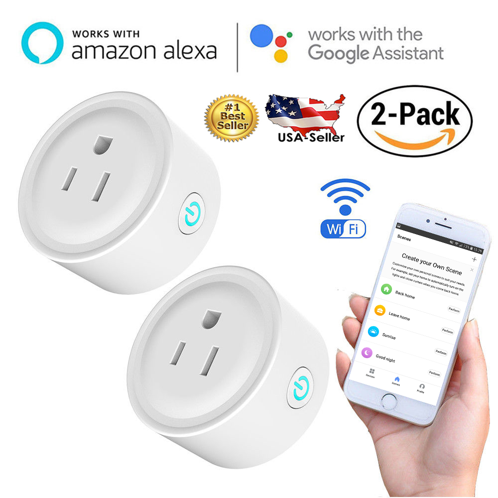 MaximalPower 2x Smart Socket Plug Wi-Fi Outlet Switch Work With Google Voice Echo Alexa Remote Control Phone APP