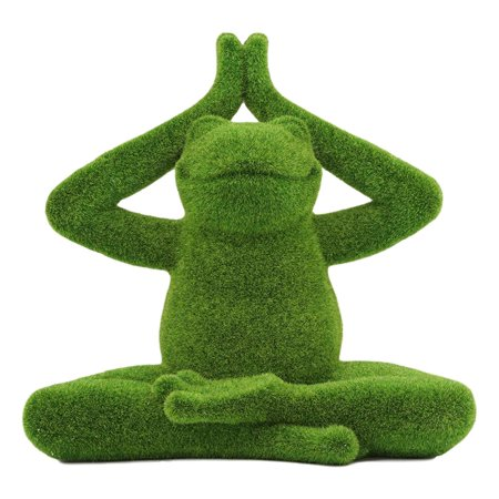 Ebros Whimsical Meditating Buddha Yoga Frog Garden Statue in Flocked Artificial Moss Finish Resin Sculpture Guest Greeter Home Decor Outdoors Patio Flower Bed Frogs Toads Zen Feng Shui Lotus