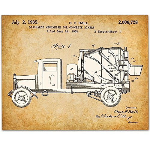 Concrete Mixer 11x14 Unframed Patent Print Great Gift for Contractors or Boy's Room Decor by
