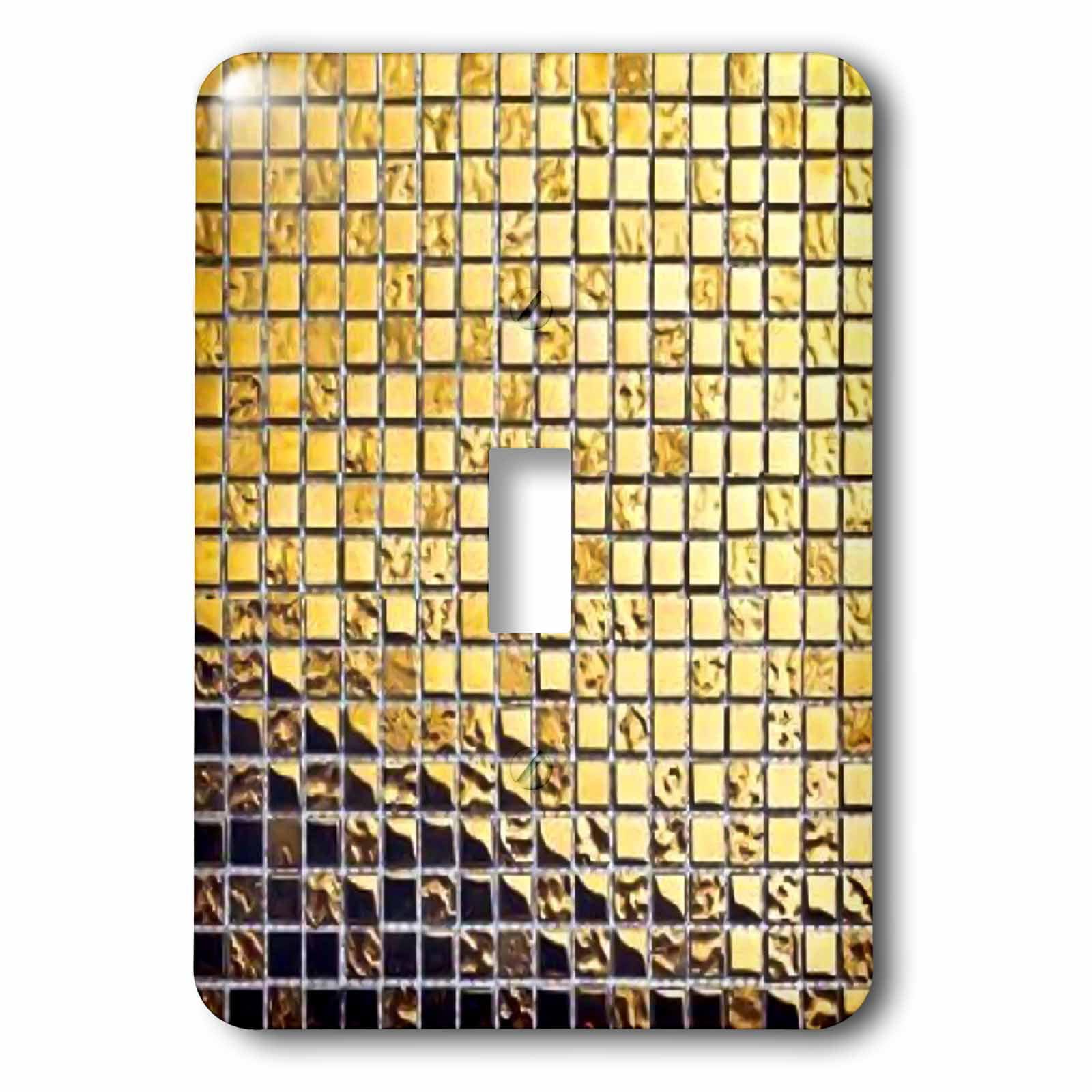 3dRose Metallic Gold Tile Print II, Single Toggle Switch