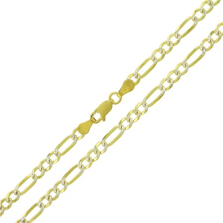 Sterling Silver Italian 4mm Figaro Link Diamond Cut Two-Tone Yellow ITProLux Solid 925 Necklace Chain 16