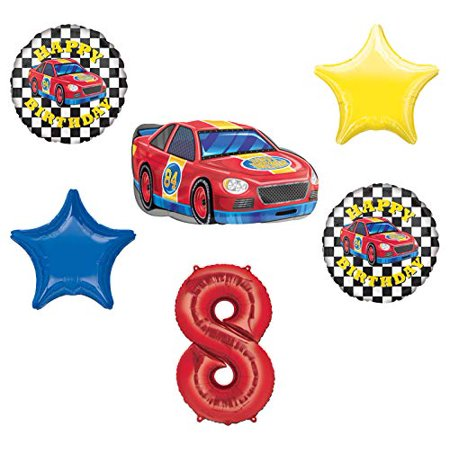 Race Car Theme 8th Birthday Party Supplies Stock Car Balloon Bouquet Decorations](Car Themed Birthday Decorations)