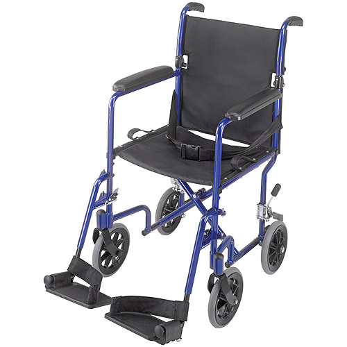 DMI Ultra Lightweight Aluminum Transport Chair Royal Blue, Black Seat