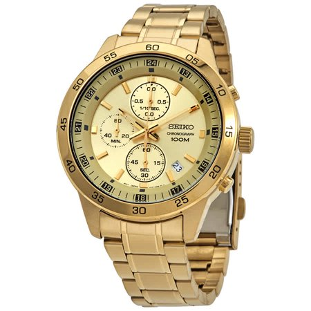 Seiko Chronograph Quartz Gold Dial Men's Watch SKS646P1 Seiko Mens Alarm Chronograph