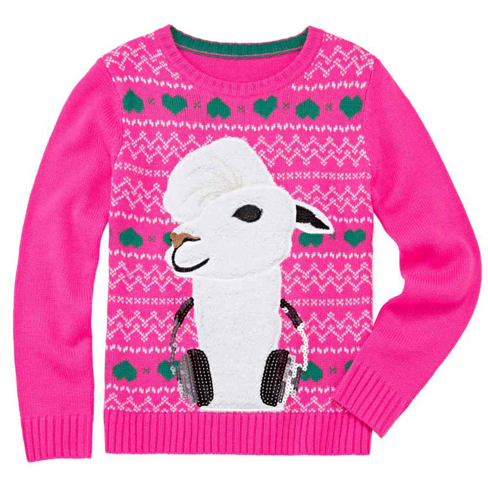 Total Girl Girls Plus Llama Headphones Holiday Long Sleeve Pullover Sweater