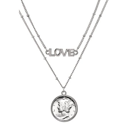 Extension Double Strand Necklace - Silver Mercury Dime Coin Double Strand Love Necklace