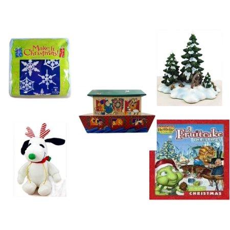 Holiday Fruitcake - Christmas Fun Gift Bundle [5 Piece] - Make It .  Ornament Kit - Dept. 56 Village Accessory Wagonwheel Pine Grove - Noah's Ark Card Storage Display Box Hallmark - Reindeer Snoopy  6