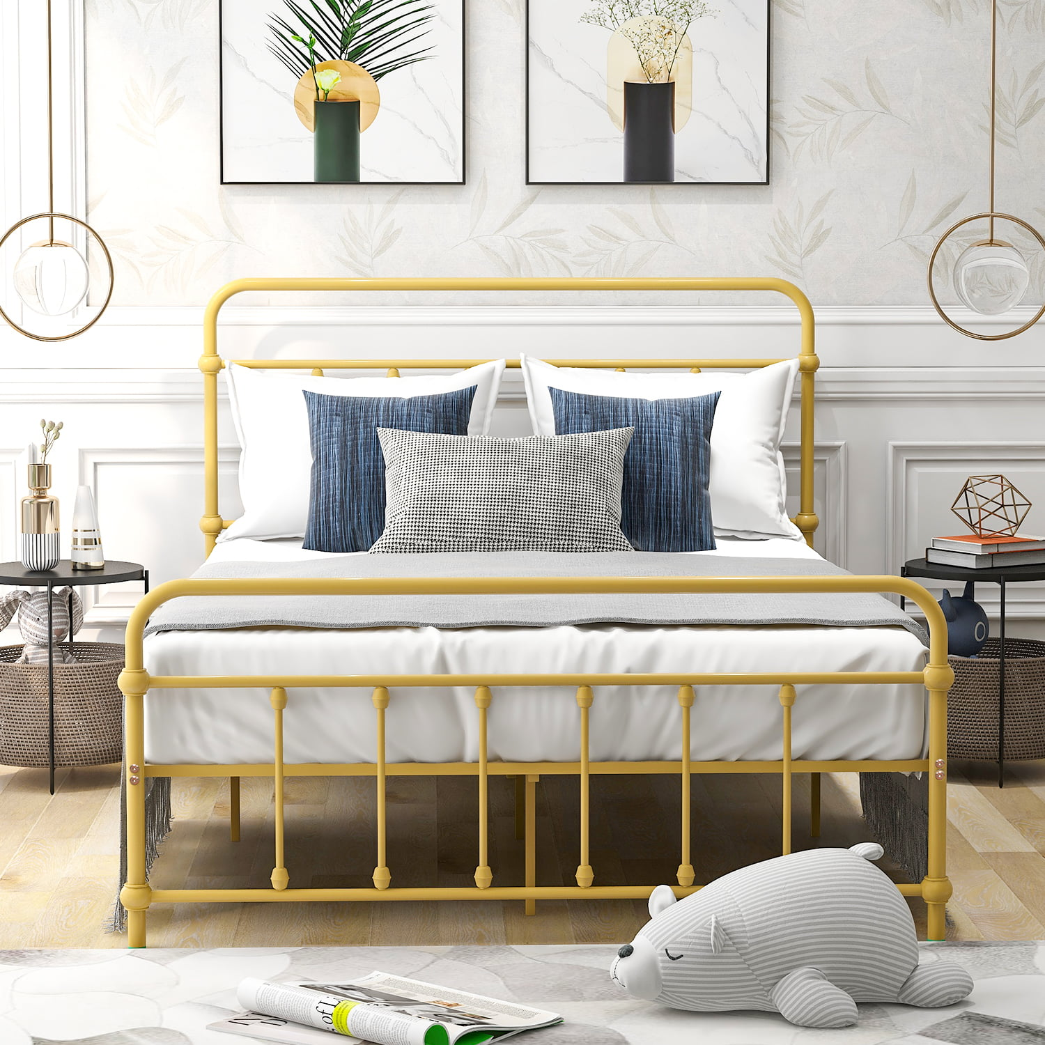 Moobody Full Size Metal Platform Bed With Headboard And Footboard Iron Bed Frame For Bedroom No Box Spring Needed Yellow Walmart Com Walmart Com