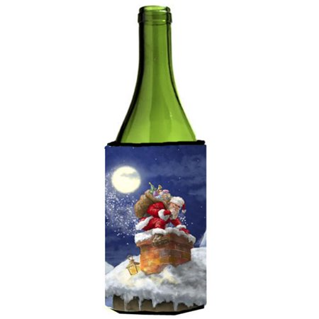 Christmas Santa Claus in the Chimney Wine Bottle Can cooler - Santa Claus Wife