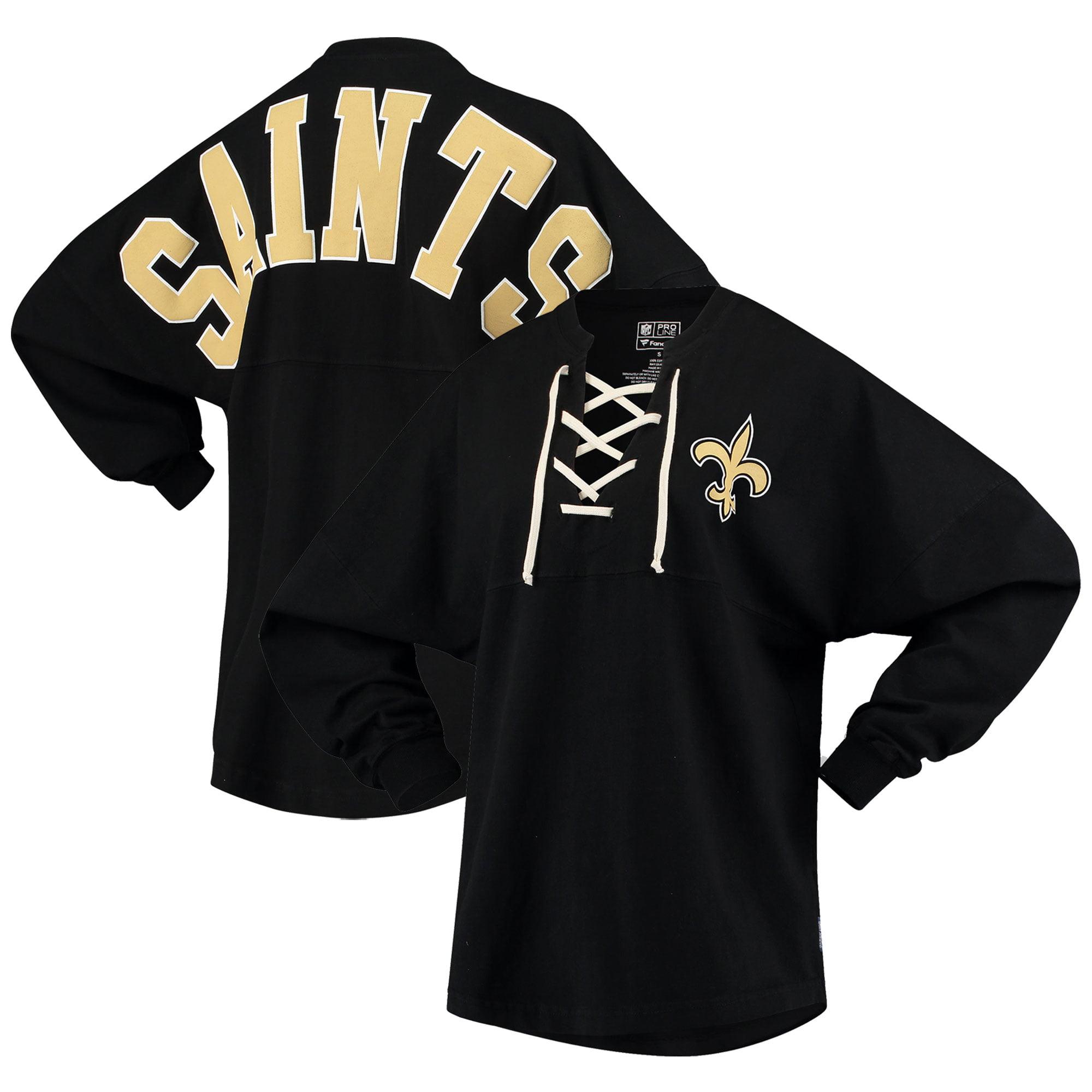 New Orleans Saints NFL Pro Line by Fanatics Branded Women's Spirit Jersey Long Sleeve Lace Up T-Shirt - Black