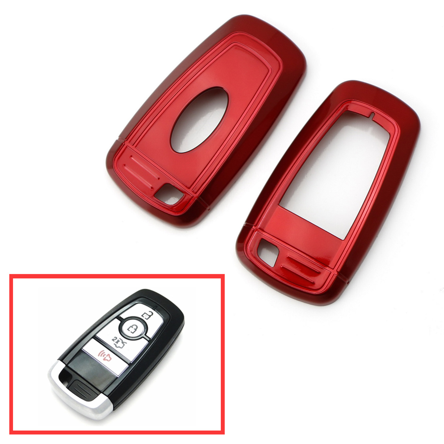 Ijdmtoy Glossy Metallic Red Exact Fit Key Fob Shell Cover For  Up Ford Edge