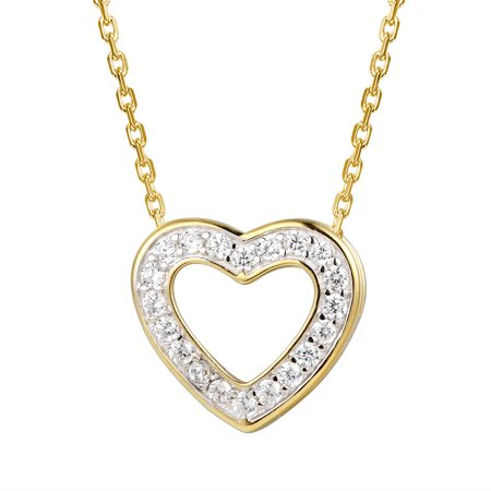 Open Heart Pendant Solitaire Simulated Diamond 925 Silver Women Free Necklace 18