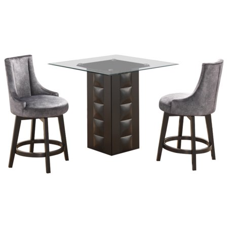 Fabulous Walden 3 Piece Counter Height Kitchen Dining Set 40 Square Pedestal Cappuccino Wood Table 2 Gray Swivel Stools Ibusinesslaw Wood Chair Design Ideas Ibusinesslaworg