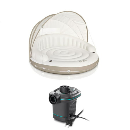 White Floating Canopy (Intex Inflatable Canopy Island Float Lounge + AC Electric Air Pump w/ 3)