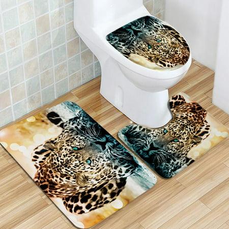 3Pcs Bath Mat Set Pedestal Toilet Seat Mat Toilet Cover Lid Bath Mat Anti-slip Carpet Pad Rug Set Leopard Panther for Home Bathroom ()