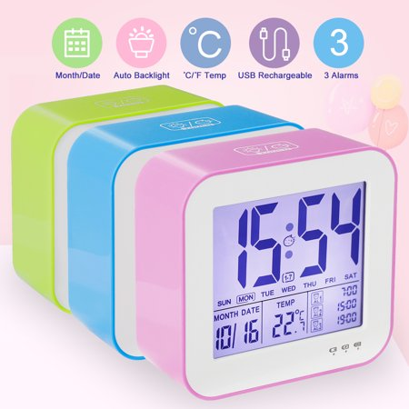 - Alarm Clock, Tsumbay Time Clock Calendar Temperature Thermometer with Snooze Function Electronic LED Alarm and Backlight Night Light