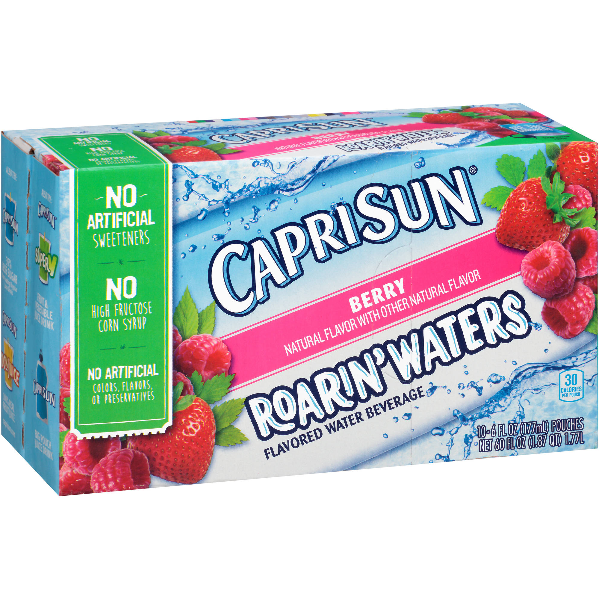 Capri Sun Roarin' Waters Berry Flavored Water Beverage, 6 fl oz, 10 count