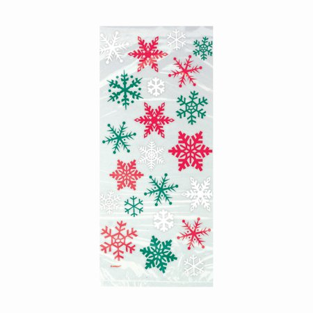 Snowflake Christmas Cellophane Bags, 11 x 5 in, Red & Green, 20ct ()