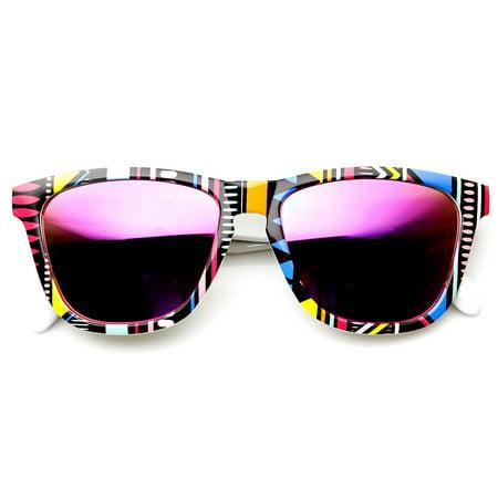 Native Print Color Mirror Lens Keyhole Bridge Horned Rim Sunglasses - (Discount Native Sunglasses)