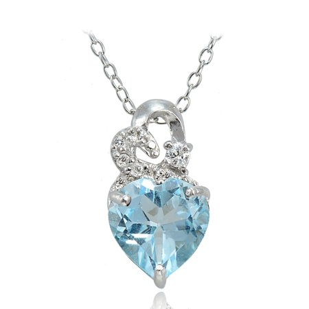 Sterling Silver 1.9ct TGW Blue Topaz and White Topaz Double Heart Necklace (Birthstone Double Heart Pendant)