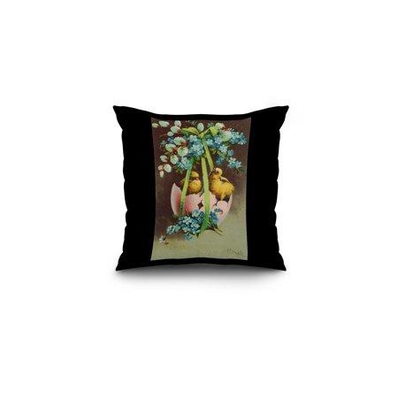 Easter Greetings Scene of Baby Chicks in Broken Egg Shell (16x16 Spun Polyester Pillow, Black