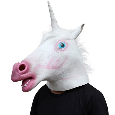 Unicorn Horse Head Mask Latex Halloween Party Costume Animal Fun Theater - Hq Halloween Party
