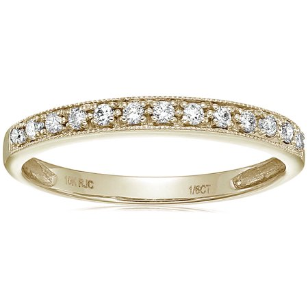 Vir Jewels 1/6 cttw Petite Diamond Wedding Band in 10K White Gold With Milgrain