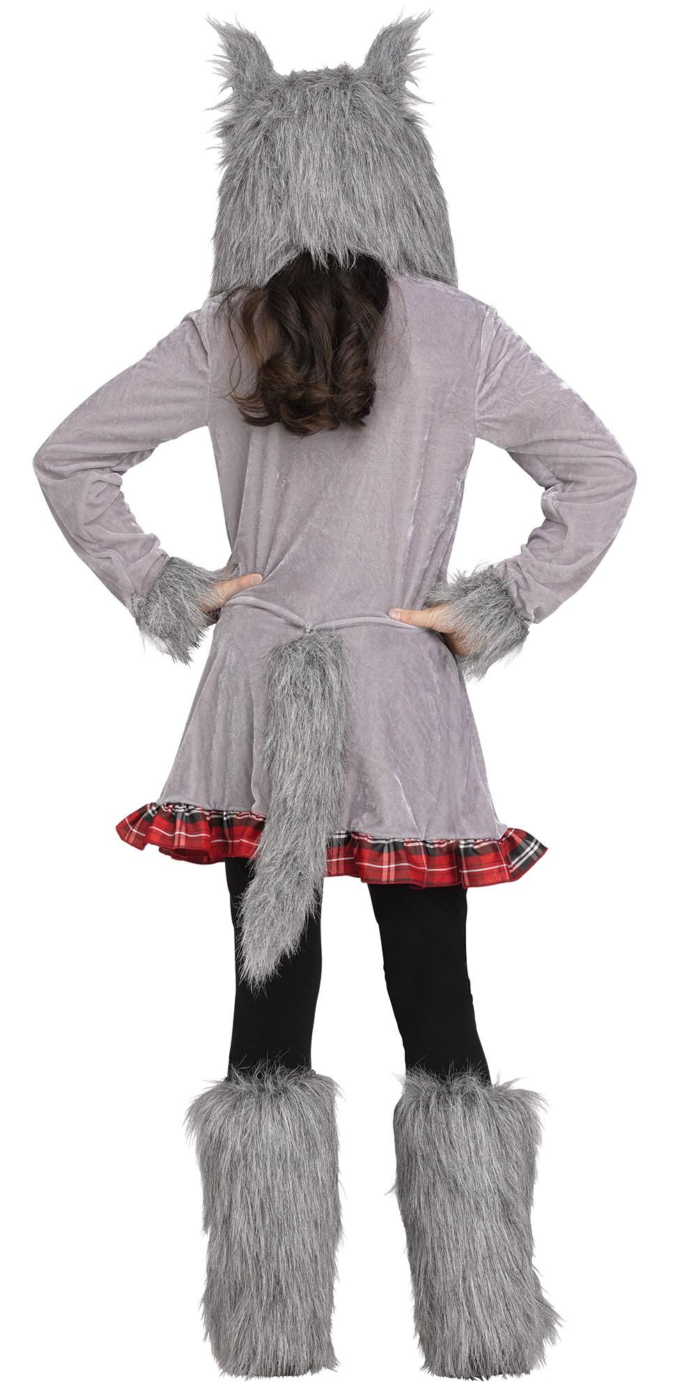 Wolf Cub Wolf Hood Ears Tail Girls Child Costume Medium 8-10