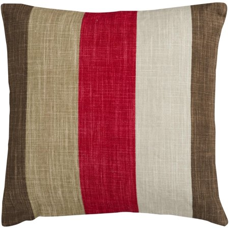 22 red and brown thick striped decorative throw pillow. Black Bedroom Furniture Sets. Home Design Ideas
