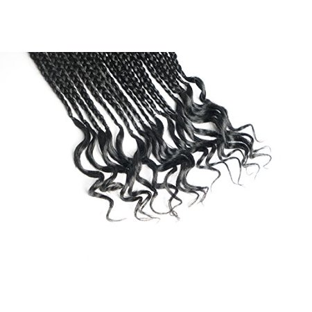 UNA (4Packs) Curly Box Braids Hair 20inch Goddess Box Braid Braiding Hair Braids Mambo Hair Extension 18Roots/Pack (1B) - image 2 of 4
