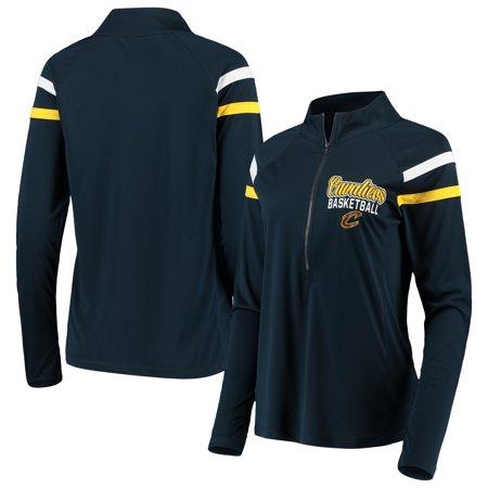Cleveland Cavaliers 5th & Ocean by New Era Women's Pullover Half-Zip Thumb Holes Jacket - Navy