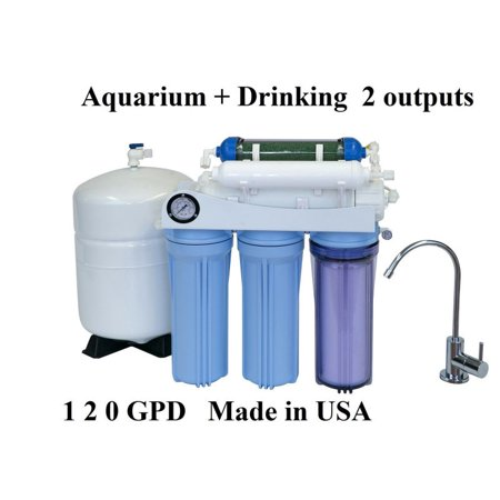 Koolermax AR-125 6-stage 120GPD Reverse Osmosis RO + DI water filter system for Aquarium and Home Drinking