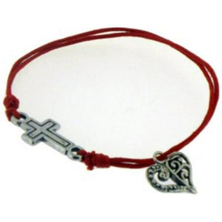 Bracelet-Red Cotton Adjustable Friendship With Cross Bead And Heart (God's Heart Bracelet)
