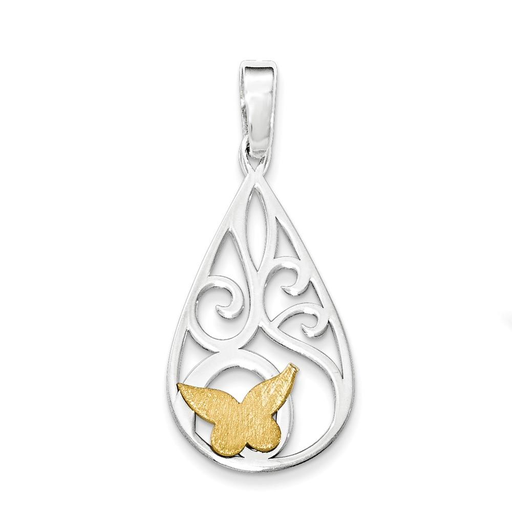 Sterling Silver Gold-tone Polished Laser-cut Butterfly Pendant